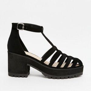 ASOS Caged Platform Heels, Black, Size 10